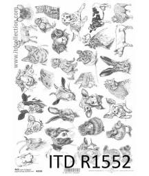 Papier ryżowe do decoupage ITD R1552, Zwierzęta na farmie