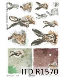 Papier ryżowe do decoupage ITD R1570, Sylwetki królików - Wielkanoc