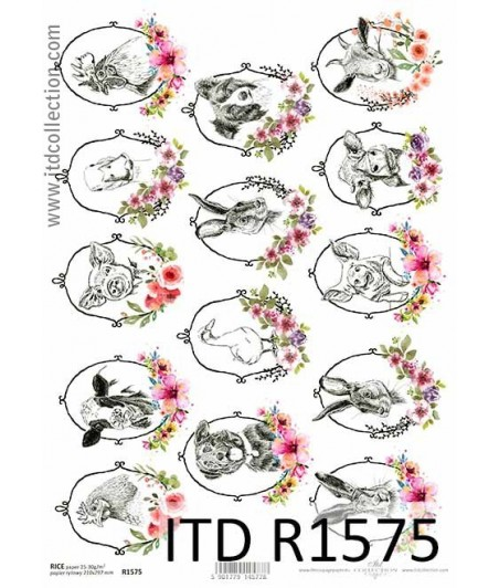 Papier ryżowy do decoupage ITD R1575, Wielkanocne zwierzęta na farmie