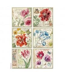 Papier ryżowy Stamperia A4. Karty z kwiatami