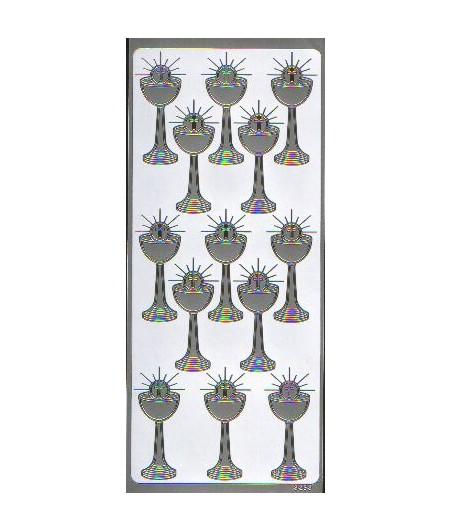 Naklejki peel-off, Kielichy duże ażurowe, srebrne [3253S]