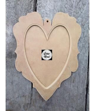 Ramka serce małe z frezem z MDF dwuczęściowa DekorWood