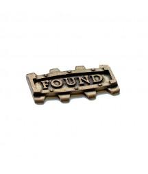 Element metalowy - napis Found w ramce