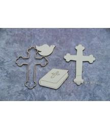 Elementy tekturowe Scrapiniec, Chrzest - Biblia, krzyż i gołębica 2252