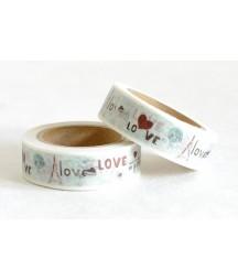 Taśma papierowa Washi - Zakochaj się w Paryżu 09 - Wieża Eiffla, kieliszek wina i napis Love in Paris