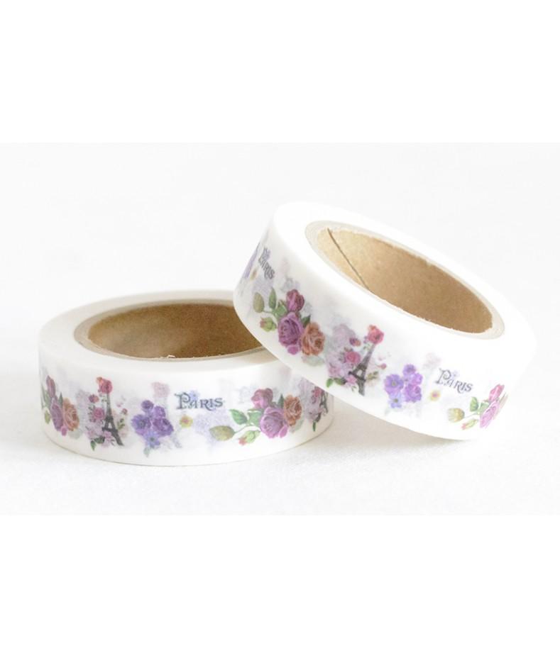 Taśma papierowa Washi - Zakochaj się w Paryżu 10 - Wieża Eiffla i różnobarwne róże