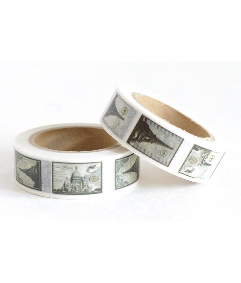 Taśma papierowa Washi - Zakochaj się w Paryżu 11 - Wieża Eiffla i zabytki Paryża na znaczkach
