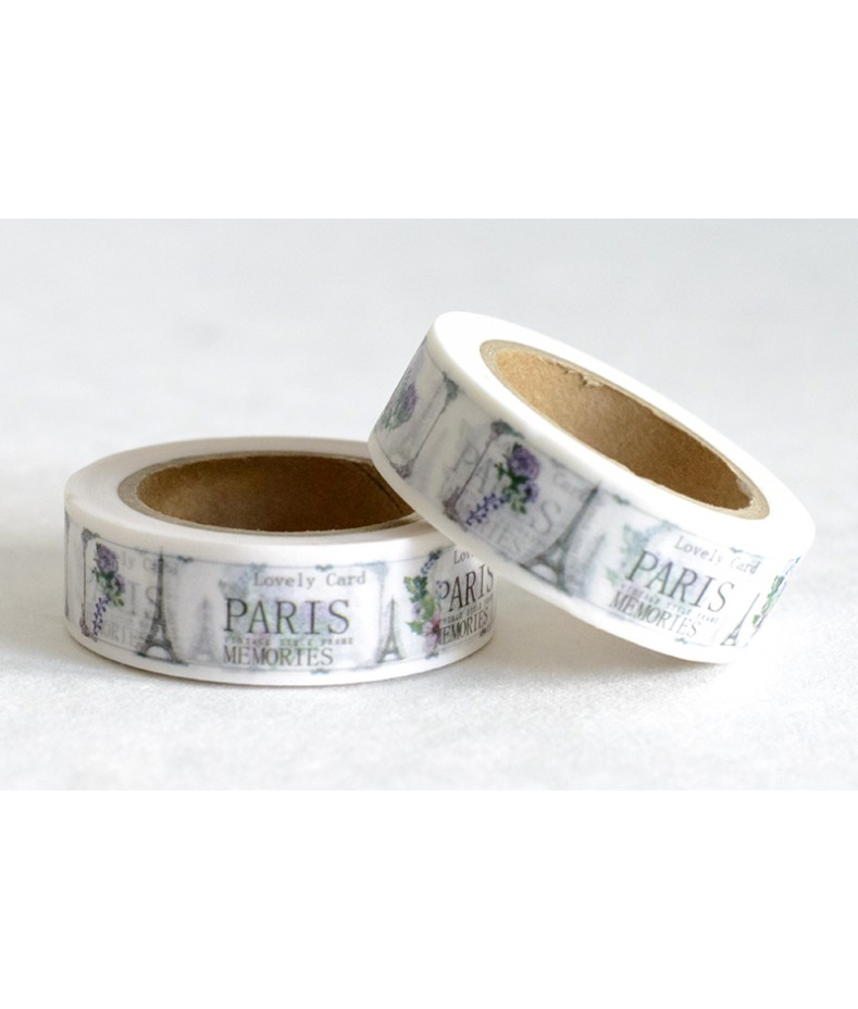 Taśma papierowa Washi - Zakochaj się w Paryżu 15 - Wieża Eiffla, kwiaty i napis Paris Memories