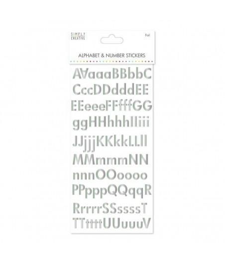 Alfabet i cyfry samoprzylepne - srebrne
