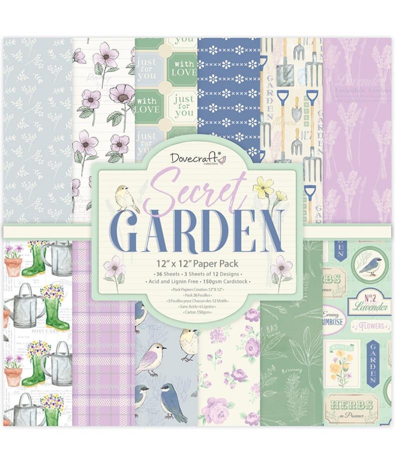 Bloczek do scrapbookingu 12x12, Dovecraft Secret Garden DCPAP140