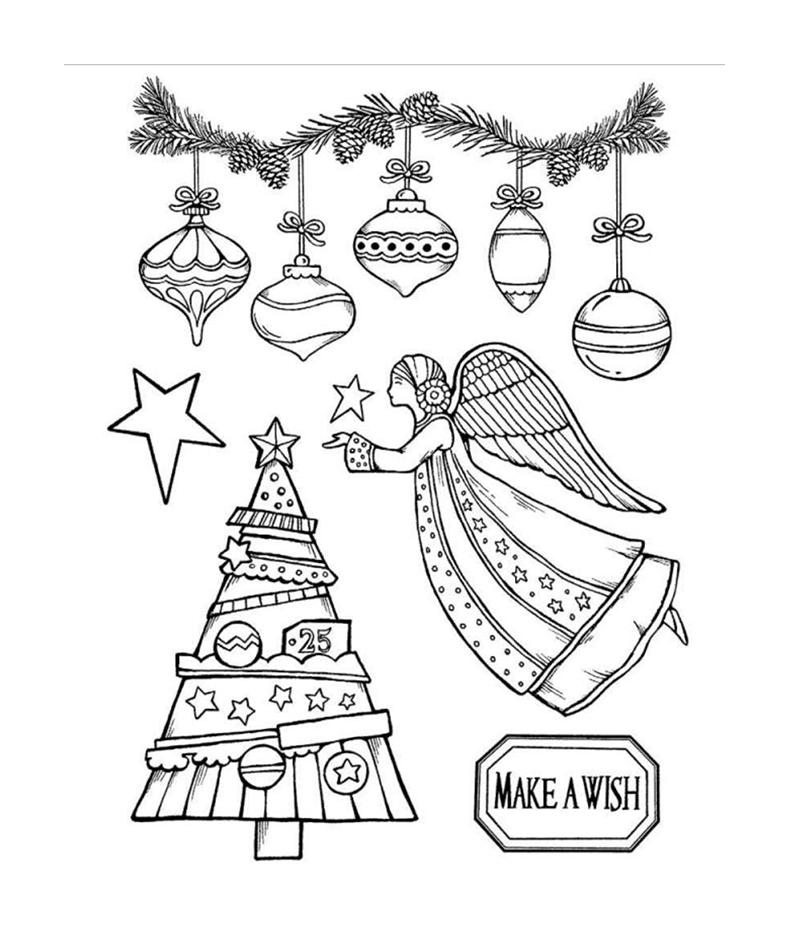 Stemple kauczukowe Stamperia - motywy świąteczne: bombki, anioł, choinka