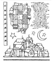 Stemple kauczukowe Stamperia - motywy świąteczne: Zimowy pejzaż i rękopis