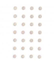 Kryształki samoprzylepne 8 mm z brokatem, opal - białe opalizujące GRKR-123