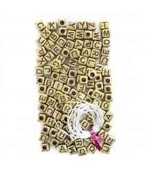 Złote koraliki - kostki z Alfabetem