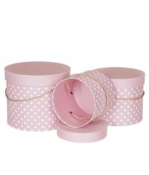 Pudełka ozdobne okrągłe, różowe 3 szt.