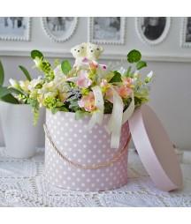 Okrągłe pudełka ozdobne ze sznurkiem, różowe w groszki, 3 szt. DPBO-017