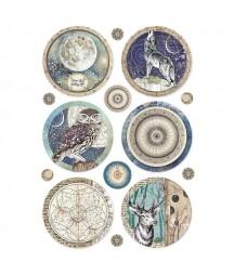 Papier ryżowy Stamperia A4. Cosmos - okrągłe dekory