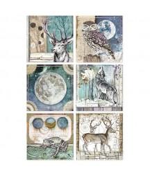 Papier ryżowy Stamperia A4. Cosmos - 6 kwadratowych dekorów