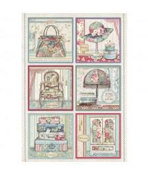 Papier ryżowy Stamperia A4. Grand Hotel - kwadratowe dekory