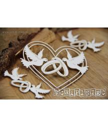 Elementy tekturowe Scrapiniec 5577, Love in 3D - dekory z sercami