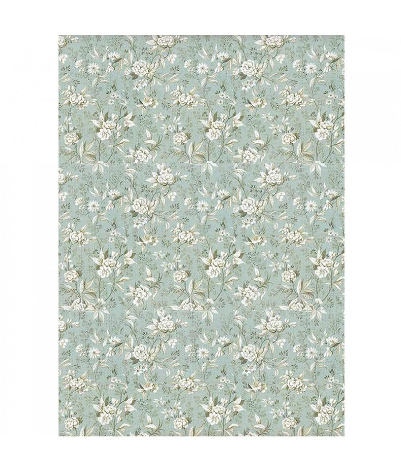 Papier ryżowy Stamperia A4. Grand Hotel - kwiaty jaśminu na błękitnym tle