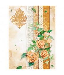 Papier ryżowy Stamperia A4. Flowers for you - ochra