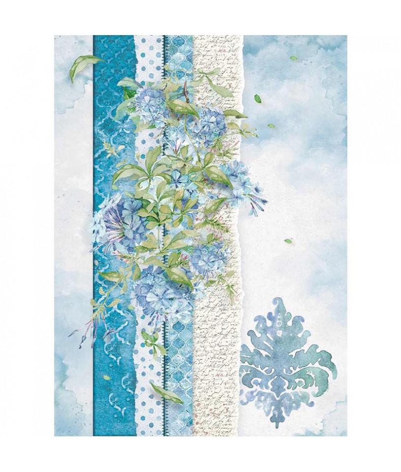 Papier ryżowy Stamperia A4. Flowers for you - błękit