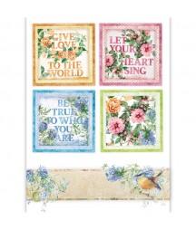 Papier ryżowy Stamperia A4. Flowers for you - kolorowe kwadratowe ramki z kwiatami