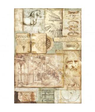 Papier ryżowy Stamperia A3, Science - Leonardo 2