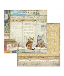 Papier do scrapbookingu 12x12, Stamperia - Make a Wish SBB652 - kotki dwa