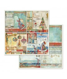 Papier do scrapbookingu 12x12, Stamperia - Make a Wish SBB653 - świąteczne kolaże