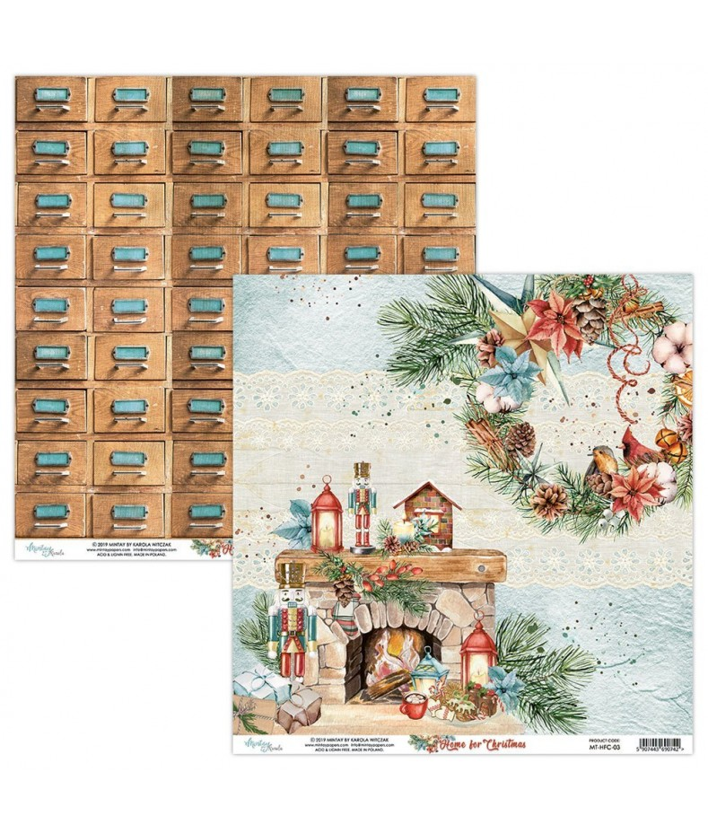 Papier do scrapbookingu Mintay Papers - Home for Christmas 03