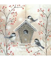 Serwetka do decoupage - Zimowy domek dla ptaków, mini