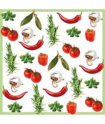 Serwetka z warzywami i ziołami.