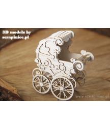 Elementy tekturowe 3D Scrapiniec 5594, Wózek 3D do złożenia