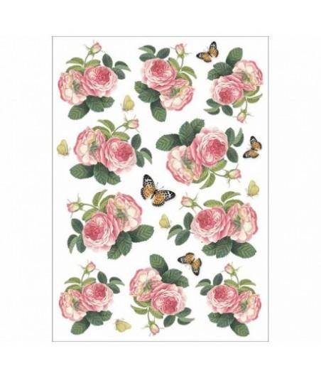 Papier ryżowy Stamperia A4. Róże