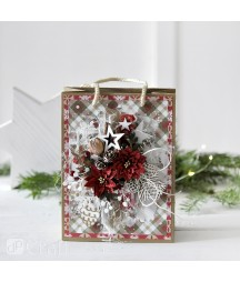 Kwiatki papierowe handmade DP Craft, Poinsecje z brokatem CEKP-057