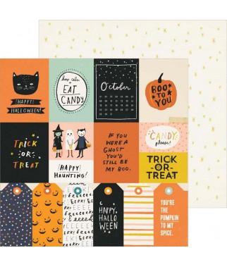 Papier do scrapbookingu z motywami Halloween, Hey Pumpkin - Treats Please