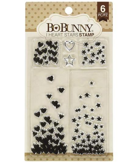 Stemple akrylowe BoBunny - I heart stars - serduszka i gwiazdki