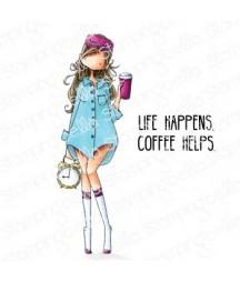 Stempel gumowy Stamping Bella Curvy girl loves coffee EB853