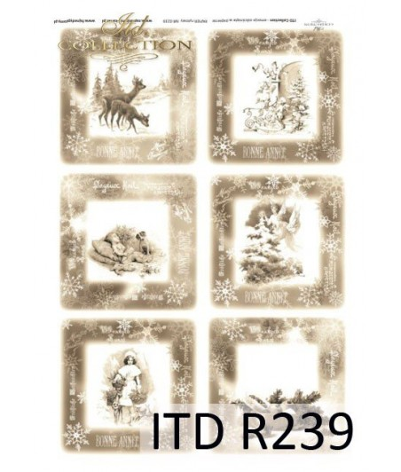 Papier ryżowy do decoupage ITD Collection R0239 Zimowe obrazki w sepii