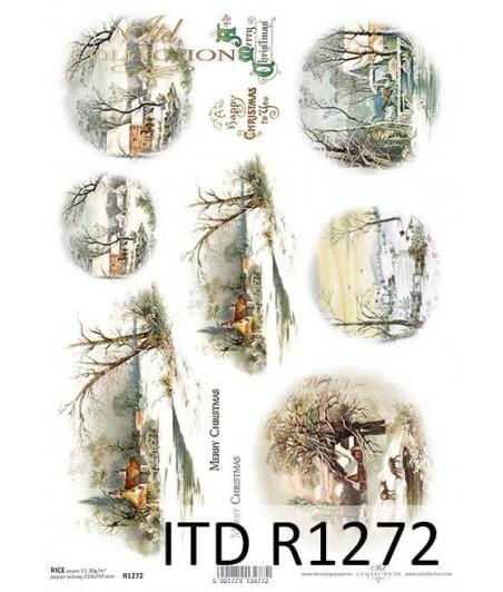Papier ryżowy do decoupage ITD Collection R1272 Zimowe widoczki