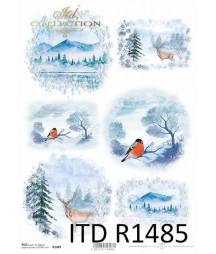 Papier ryżowy do decoupage A4 ITD R1485, Niebieskie widoczki