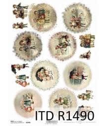 Papier ryżowy do decoupage A4 ITD R1490, Zimowe dzieci vintage