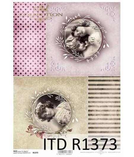 Papier ryżowy A4 ITD R1373, dziewczynki vintage 1