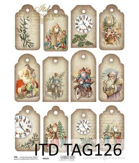 Papier do scrapbookingu A4 ITD TAG0126, Świąteczne tagi