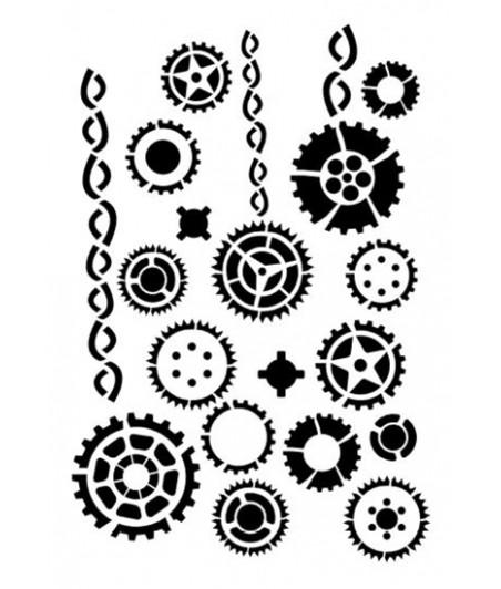 Szablon A5 do decoupage Daily Art - Small Gears - trybiki