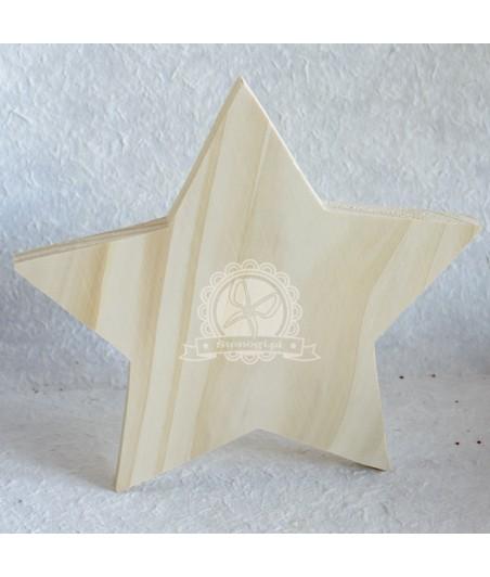 Dekoracje świąteczne - gwiazda stojąca z drewna 21 cm
