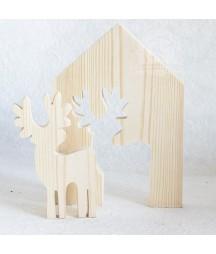 Ozdoba świąteczna, baza do decoupage - domek z reniferem.