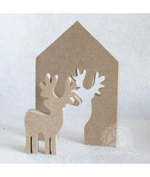 Ozdoba świąteczna z MDF, baza do decoupage - domek z reniferem.